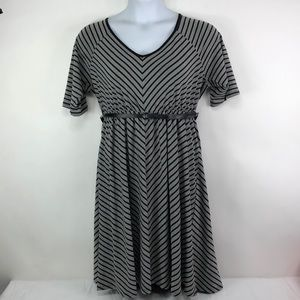 Torrid Dress Black Gray Belted Sz 2 NWT